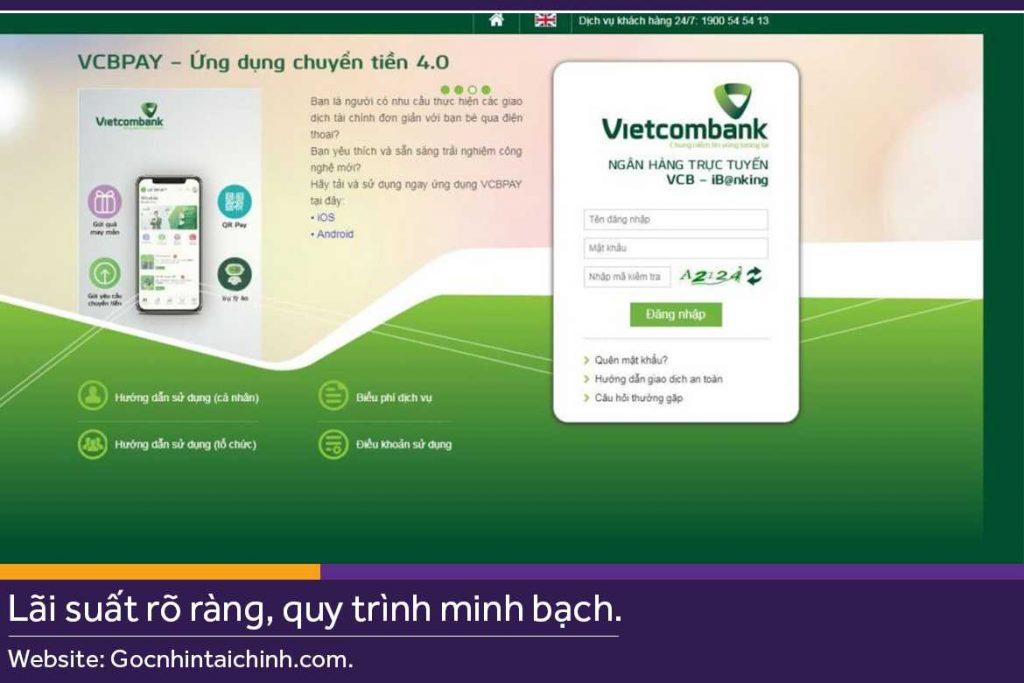 Cách sử dụng Internet Banking Vietcombank Online 1