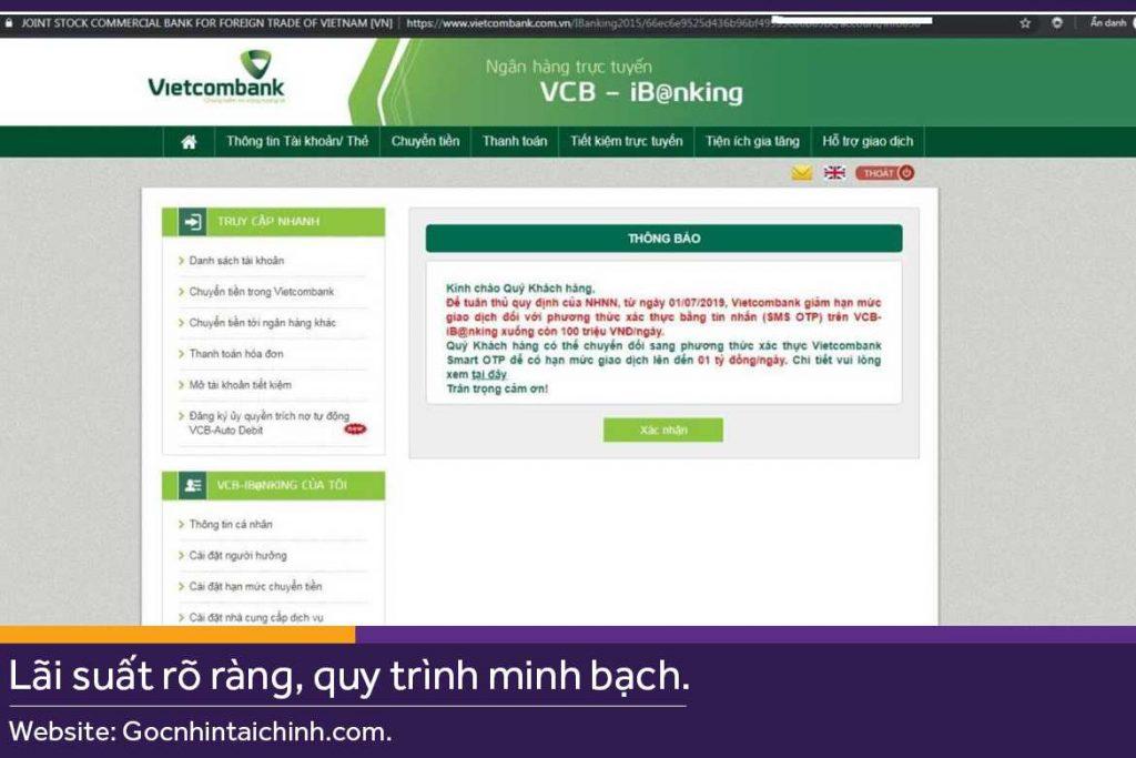 Cách sử dụng Internet Banking Vietcombank Online 2