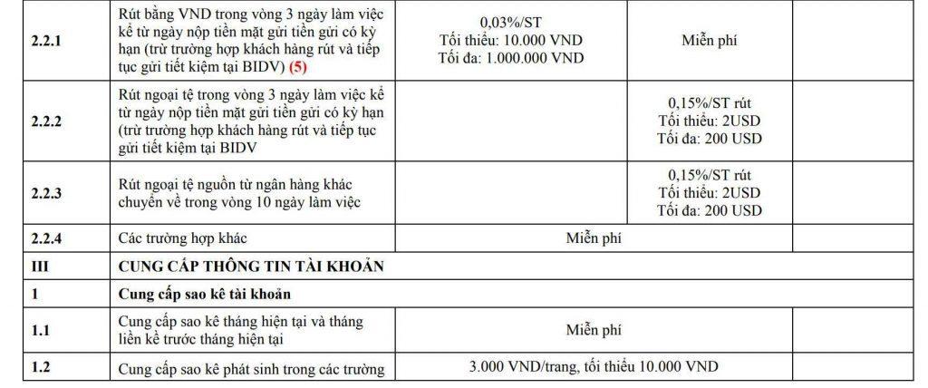 Sao kê bảng lương BIDV có mất phí không?