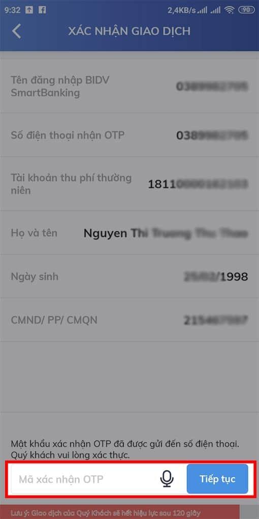 nhập mã OTP được gửi về số điện thoại đăng ký BIDV Online