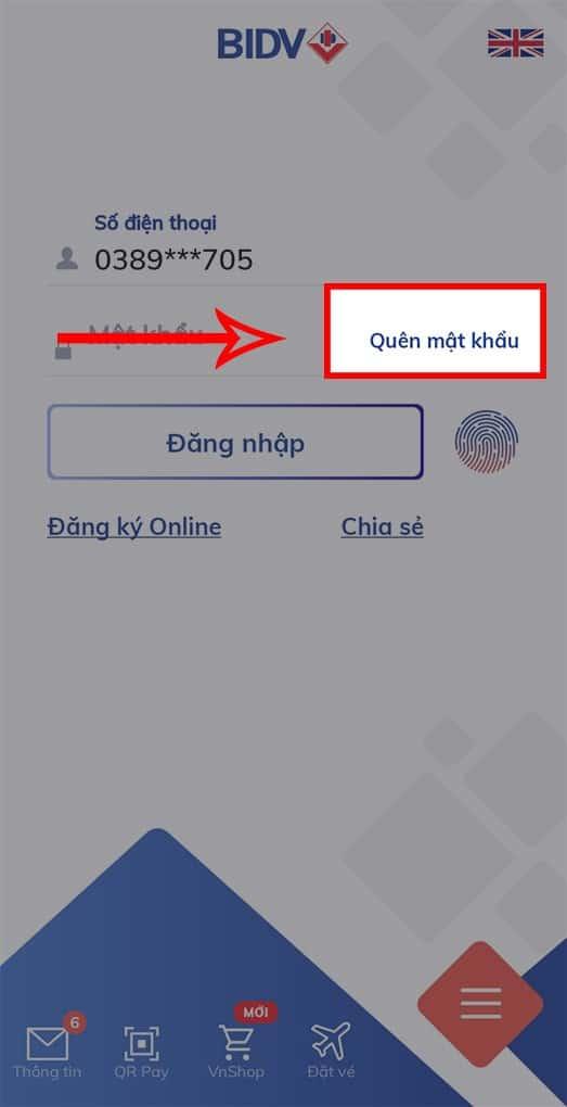 Truy cập vào ứng dụng BIDV Online