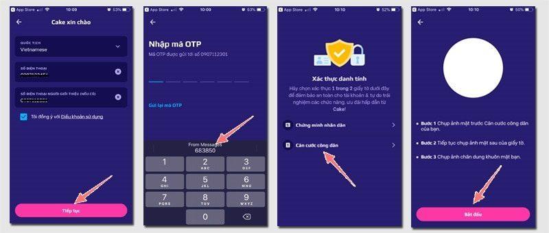 Bước 3: Hoàn thành mẫu đăng ký, nhấn nhận mã OTP và tiến hành xác thực tài khoản ngay khi mã được gửi về điện thoại của bạn