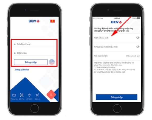Lấy lại mật khẩu BIDV Smart Banking trên điện thoại